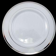 Wedding Party Disposable Plastic Dinnerware Plates round plates w/silver rim  sc 1 st  Pinterest & Free Shipping. Buy Bulk Dinner Wedding Disposable Plastic Plates ...