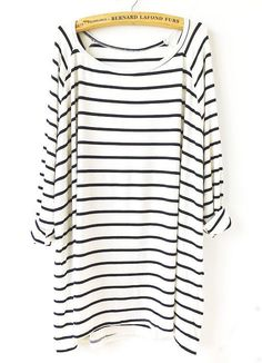 This is a great modern loose t shirt. I love stripes so of course I love this. White Black Striped Loose T-Shirt from m.shein.com