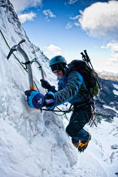 Ice climbing by Tomaž Bradeško. Is there some kind of halo / lens flare on he's face!