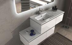 Mobili bagno da 101 a 220 cm : Mobile bagno Avon cm 100 + 110 120 130 140 150 160 200 bianco lucido, grigio talpa, rovere soft