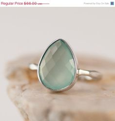 SALE - Sea Foam Green Ring - Aqua Blue Chalcedony Stacking Ring - Gemstone Ring - Silver Rings - Stackable Ring