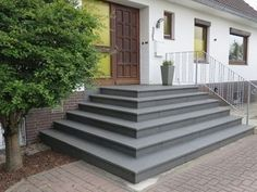 Treppenaufgang black stone entrance staircase, Mittelkirchen, Lower Saxony Along with public Patio Driveway Ideas, Patio Steps, Driveway Landscaping, Modern Front Yard, Front Yard Design, Types Of Stairs, Front Door Steps, Split Entry, Building Stairs