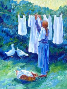 Items similar to Hanging The Whites - Fine Art Giclee Print Home decor art - Oil painting print - Washing line- white linens on Etsy Illustrations, Illustration Art, Laundry Art, Laundry Rooms, Art Du Fil, Sunflower Print, Beautiful Paintings, Art Forms, Line Art