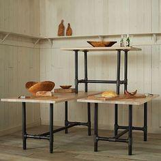 Design Workshop Wood Top Tables from West Elm. Also very simple: metal plumbing fixtures with a wood top. Diy Table Legs, Wood Table Legs, A Table, Wood Tables, Grey Wood Tile, White Oak Wood, Rustic Wood Floors, Wood Tile Floors, Cube Furniture