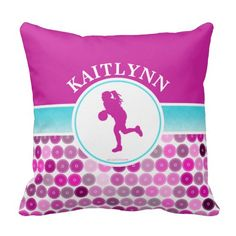 Retro Purple Circles Basketball by Golly Girls Pillow
