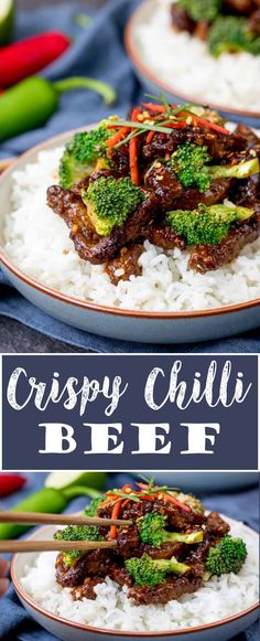 This Crispy Chilli Beef with Broccoli is our go-to Chinese stir fry! Most requested by the family, it's way tastier and quicker than takeout! Easily made gluten free. #fakeaway #betterthantakeout #crispychillibeef #beefstirfry #beefandbroccoli #chinesebeef