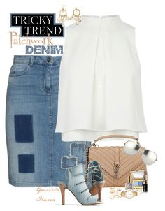 """Tricky Trend - Patchwork-Denim"" by grachy ❤ liked on Polyvore featuring Frapp, Yves Saint Laurent, Seychelles, Linda Farrow, Estée Lauder, Mudd, Bobbi Brown Cosmetics, Elsa Peretti, Calypso Private Label and Kate Spade"
