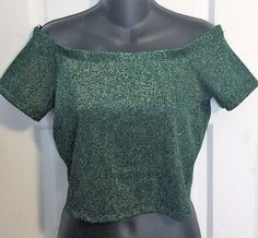 SOLD! Sexy Cropped Off the Shoulder Green Sparkle Forever 21 Top - Large - Mermaid #FOREVER21 #CropTop #Clubwear