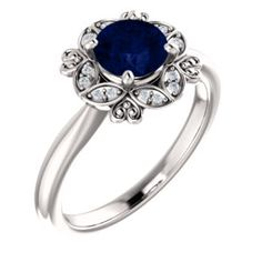 White Gold, Chatham® Created Blue Sapphire & CTW Diamond Ring, Available in Rose,White and Yellow gold. Vintage Inspired Engagement Rings, Diamond Engagement Rings, Rings Online, Gold Platinum, Vintage Rings, Blue Sapphire, White Gold, Wedding Rings, Puja Room