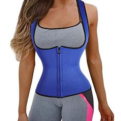 Super Slimming Sweat Vest Hot Neoprene Shapers Sauna Vest Shirt for Weight Loss XL Blue *** Click image to review more details.