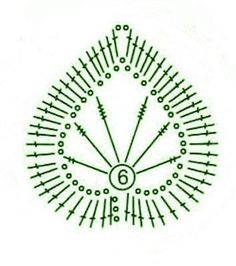 Crochet leaf - chart / Hoja de ganchillo -  diagrama: