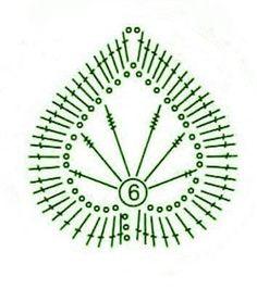 Crochet leaf - chart / Hoja de ganchillo -  diagrama:
