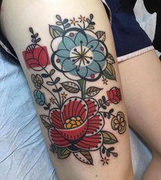 Mid-Century Modern Barkcloth Floral Tattoo by Jen Trok at Speakeasy Custom Tattoo, Chicago IL - Imgur #beautytatoos