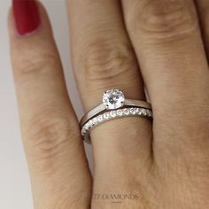 Our 1477 Classic engagement ring with the Vogue Maxi as wedding band. #bride #groom #proposal