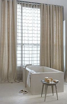 Examole of neutral sheer curtains Drapes And Blinds, House Blinds, Drapes Curtains, Balcony Curtains, Bedroom Curtains, Blackout Curtains, Bedroom Decor, Outdoor Curtains, Modern Curtains