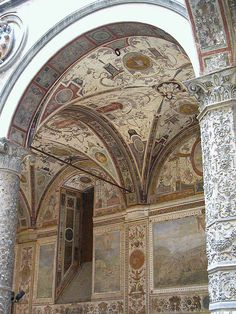 Ceiling in courtyard of Palzzo Vechio Florence, Cuttings, Antiquities, Mosque, Art And Architecture, Looking Up, Italy Travel, Building Design, Trips