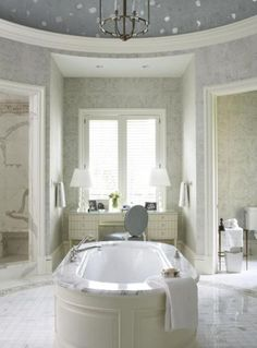 Stunning Master Bathrooms | Traditional Home - Has my favorite vanity/desk ever by Barbara Berry.