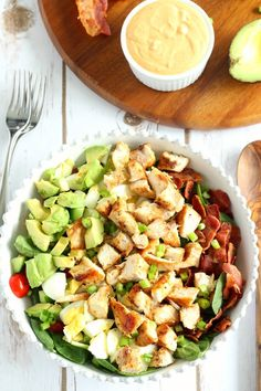 paleo chicken cobb salad with buffalo ranch dressing - whole30 friendly