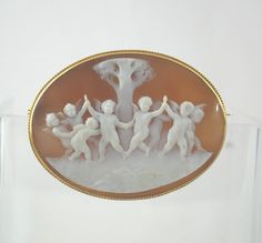 18k Vintage Dancing Cherubs Cameo by JandHjewelry on Etsy
