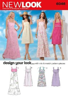 6000 Abiti MISSES/'s Sewing Pattern NEW LOOK 5 Stili Taglie 4-16