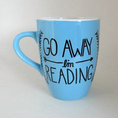 GO AWAY I'm reading hand painted mug black by MoonriseWhims
