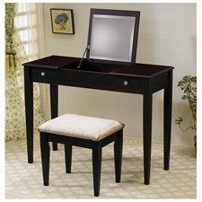 Cappuccino Finish Flip Top Vanity Table & Stool Set