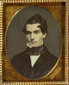 ca. 1849-58, daguerreotype portrait of a gentleman who appears to have a glass right eye