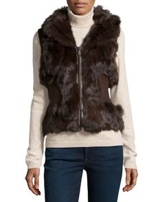 Rabbit Fur Ribbed-Knit Vest, Brown by Metric Furs at Neiman Marcus Last Call.