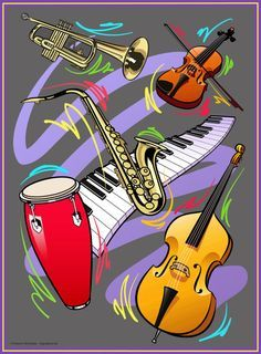 Jazz Instruments, Image Painting, Stock Art, Framed Prints, Canvas Prints, Artist Gallery, Online Art, Mosaic, Tapestry