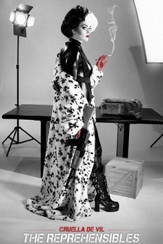 Cruella De Vil Expendables Movie Poster- Disney mashup combat costume