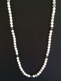 Mens White and Gray Howlite Stone Necklace- Long Necklace – JaeBee Jewelry