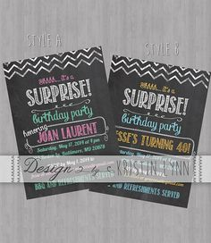 Chalk Board Surprise Party Invitation by DesignbyKristinLynn, $12.00