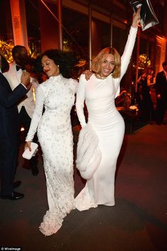 Sisters doing it for themselves! Beyonce and Solange Knowles get the party started at the ...