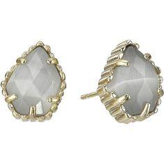 Kendra Scott Tessa Earring (Gold/Slate) Earring ($50) ❤ liked on Polyvore featuring jewelry, earrings, white, white gold jewellery, gold post earrings, 14k stud earrings, white stud earrings and yellow gold stud earrings