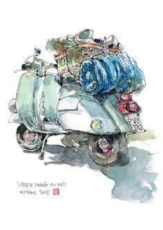 離家出走的Vespa A traveling Vespa with luggage