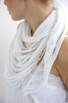 Шаль-платок Breeze белая хлопок - белый,однотонный,шаль,плоток,шарф,шаль хлопок