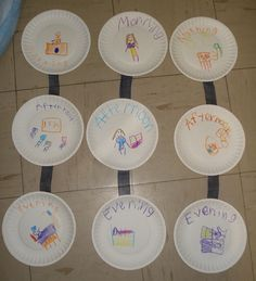 For math: draw activities that are done in the morning, afternoon, evening