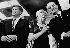 From FDR to JFK and LBJ Eleanor Roosevelt, the former first lady and widow of Franklin D. Roosevelt, appears at a New York rally to support Kennedy and his running mate, Lyndon B. Johnson.