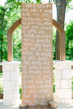 Long paper wedding sign: http://www.stylemepretty.com/2014/10/04/rustic-wedding-with-pops-of-pink/ | Photography: Hayley Rynn Ringo - http://haleyringo.com/