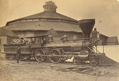 Confederate steam locomotive, 1863. Note the car carrying wood (not coal) for the engine. The Confederacy suffered from lack of mechanics, but also from lack of laborers. Passengers often had to wait hours while train crews chopped their own wood and hauled their own water when none awaited them at the depot.