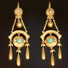 Victorian earrings with turquoise.  From 1forjewelry.com