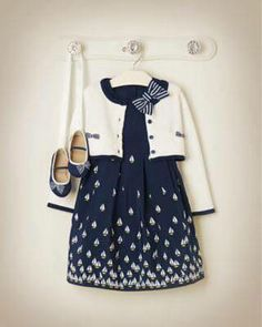 Janie & Jack - navy blue and white Little Girl Outfits, Toddler Girl Outfits, Little Girl Fashion, Little Dresses, Baby Outfits, Little Girl Dresses, Cute Dresses, Kids Outfits, Kids Fashion