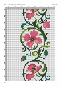 This Pin was discovered by NAL Cross Stitch Boarders, Cross Stitch Rose, Cross Stitch Flowers, Modern Cross Stitch, Cross Stitch Designs, Cross Stitching, Cross Stitch Embroidery, Hand Embroidery, Cross Stitch Patterns