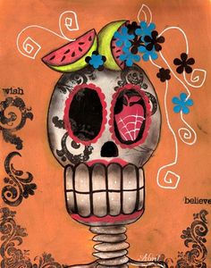 PRINT PAINTING DAY OF THE DEAD SUGAR SKULL FRUIT MEXICAN ART HALLOWEEN | surreal_wonderland - Reproduction on ArtFire
