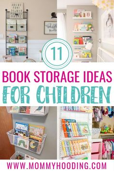 These book display ideas cover creative ways to store your kids books on walls, on shelves, in crates and more. These DIY book storage ideas will inspire your kids playroom, nursery, or bedroom! Book Storage Small Space, Kids Storage, Storage Ideas, Kitchen Storage, Food Storage, Storage Baskets, Baby Storage, Children's Book Storage, Bookshelves For Small Spaces