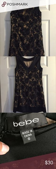 Cocktail dress from Bebe Black and nude cocktail dress with lace detail in great condition bebe Dresses Mini
