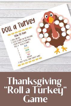 Roll a Turkey Thanksgiving Kids Game