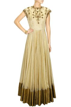 DECCAN DREAMS - Gold metal flower embellished woven line long gown by Pranthi Reddy #new #designer #fashion #couture #shopnow #perniaspopupshop #happyshopping