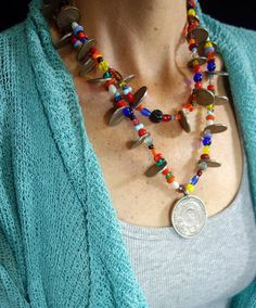 Antique Silver Peruvian & Guatemalan Coins & Czech Vintage Trade Beads Chachal Necklace by ColeccionLunaVintage