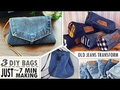 In this video DIY tutorial I show you an easy way to make the purse bag by own hands from scratch. ✂ Materials you need to make this DIY JEANS BAG: - old jea. Diy Crafts Tv, Jean Crafts, Denim Crafts, Diy Backpack, Diy Tote Bag, Diy Jeans, Diy Design, Purse Tutorial, Diy Tutorial